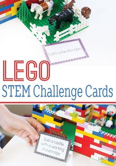 Your kids will love these LEGO STEM challenge cards! The perfect learning activity to get kids interested in learning when they think they are just playing with LEGO! All of these challenges have been 'tween-approved'. Lego Challenge, Challenge Cards, Challenge Ideas, Hands On Activities, Science Activities, Space Activities, Science Education, Educational Activities, Life Science