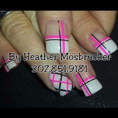 Pink  black on white Gel Nails