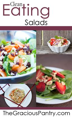 Clean Eating Salad Recipes. PLUS amazing beginners tips, beautiful blog, and CHEAP clean eating meal plan to sign up for!!