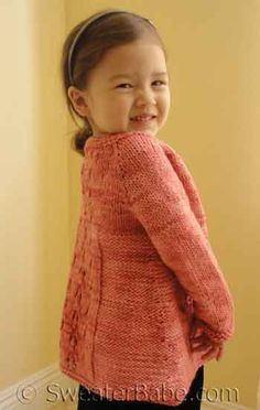 Top-Down cardigan knitting pattern - little girls can grow and still wear for years! Sweater Babe - this is so adorable!