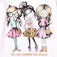 Image for Toddler Girls Long Sleeve Glitter 'We Can Change The World' Girls Graphic Tee from The Children's Place Amazing Drawings, Cute Drawings, Best Friend Drawings, Mod Girl, Kids Prints, Illustration Girl, Cute Kids, Cute Wallpapers, Cartoon