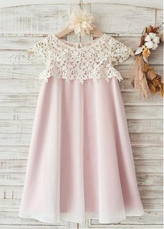 A-Line/Princess Knee-length Flower Girl Dress - Chiffon/Lace Sleeveless Scoop Neck With Lace - Flower Girl Dresses - JJsHouse Wedding Flower Girl Dresses, Wedding Dress Chiffon, Little Girl Dresses, Flower Dresses, Girls Dresses, Lace Chiffon, Party Dresses, Chiffon Dresses, Girls Party Dress