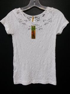 Nophat- Women's Stretch Top Blouse (One Size Fits Most) White Short Sleeve NEW #Nophat #PulloverStretchTop #Casual