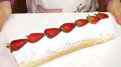 ROTOLO ALLE FRAGOLE E PANNA RICETTA FACILE - Strawberry Roll Cake Easy R...
