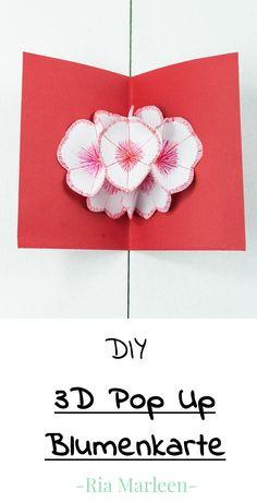 3D Pop Up Blumenkarte basteln - schönes DIY Geschenk aus Papier zum Muttertag, Valentinstag oder Geburtstag. Einfach zu basteln und mit allerhand Spielraum zum kreativen Entfalten; zudem sehr günstig und trotzdem mit Wow - Effekt
