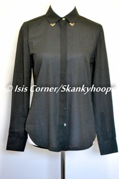NEW LONG SLEEVE BLACK SHEER BLOUSE WITH GOLD TIPS ON COLLAR SIZE S FREE SHIP #DANI #Blouse #Casual