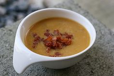 Roasted Butternut, apples, and bacon soup....no dairy if garnish is left out