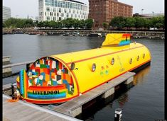 """""""So we sailed on to the sun, Till we found the sea green, And we lived beneath the waves, In our yellow submarine."""" This is Liverpool's very own Yellow Submarine Hotel! A unique Beatles-themed 5 Star experience right on Albert Dock. Liverpool Home, Liverpool England, Liverpool Docks, Liverpool History, Unusual Hotels, Floating Hotel, Les Beatles, Cool Boats, Narrowboat"""