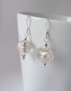 One of a Kind Clear/Silver Roman Glass and by TheBeadtiqueJewelry, $34.00