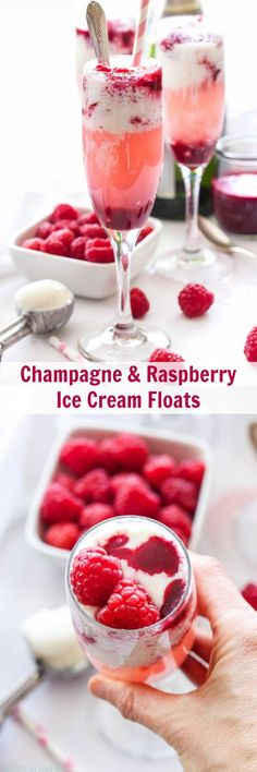 Champagne and Raspberry Ice Cream Floats, Who wants a boring glass of champagne when you can have one of these Champagne and Raspberry Ice Cream Floats instead! I want too a glass of Raspberry Wine Please. Cocktails, Party Drinks, Cocktail Drinks, Fun Drinks, Cocktail Recipes, Alcoholic Drinks, Beverages, Drunk Party, Party Fun