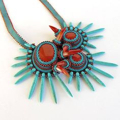 "Technicolor Tide Pools,"" by Laura of shop TheVerdantEdge. A very cool spiky Statement bib necklace!"