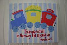 Custom Train Wall Art Bible Verse Boys Bedroom by TheMerryMarket, $24.99