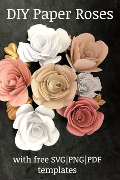 DIY rolled Paper rose flower svg and printable template. How to make rolled paper flowers cricut with free rolled flowers svg. Includes recommendation for best paper for rolled flower and best paper for cricut flower. Rolled Paper Flowers, Paper Flower Wreaths, Paper Flowers Craft, How To Make Paper Flowers, Large Paper Flowers, Paper Flowers Wedding, Paper Flower Backdrop, Paper Roses, Flower Crafts