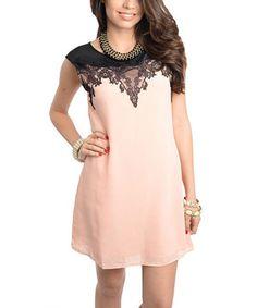 Peach & Black Lace Cap-Sleeve Shift Dress by Buy in America #zulily #zulilyfinds