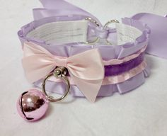 Lavender and Light Pink Kitty Collar w/Bell by KittenSightings qwehbfjkdhasfkhf this one kris 18 dollah !