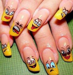 Try out this super cute Emoticon Nail Art and show your emotions.
