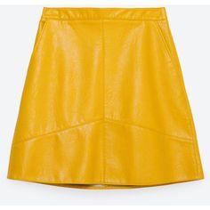 Zara A-Line Skirt (155 PLN) ❤ liked on Polyvore featuring skirts, zara, bottoms, bright yellow, yellow skirt, knee length a line skirt, a-line skirt, yellow a line skirt and zara skirts