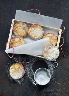 Frangipane mince pies from Richard Bertinet. Pimp up the mince pie with this scrumptious recipe involving frangipane, rum and flaked almonds. Xmas Food, Christmas Cooking, Christmas Eve, Christmas Recipes, Christmas Ideas, Christmas Parties, Christmas Things, Christmas Goodies, Rustic Christmas
