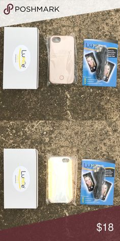 Gold Lumee Lightup case iPhone 5/5s/6/6s/6+/7/7+ 1. Dimmer Button to control the intensity of the lighting output. 2. Rechargeable case battery and included micro USB charging cord. Long lasting battery that works independently for weeks with normal use and doesn't drain your phone battery. 3. Tough, impact resistant plastic. Your phone is snug and safe with the LuMee case.  4. Use for selfies, face timing, Skype, make-up light, social media like  Snapchat & Instagram-show your best self…