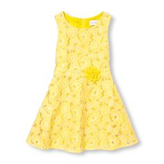 Girls Sleeveless Floral Lace Flare Dress
