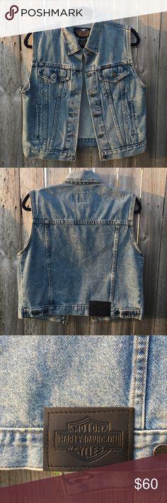 {NWOT} Harley Davidson denim vest. Quality denim worn once for a photo shoot on my dad's Harley. Harley-Davidson Jackets & Coats Vests