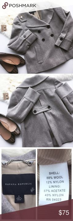 """- BANANA REPUBLIC - Flounced Grey Pea Coat A chic closet staple this flounced pea coat is roomy enough to accommodate cozy winter sweaters while looking cute & staying warm! Gorgeous tan liner, back detail, and buttons on cuffs. Excellent pre-loved condition, no flaws. True to size. Approx. Measurements  Bust: 19"""" Length: 24.5"""" 🛍Bundle & Save 20% on 2+ items! 🙅🏼No trades / selling off of Posh.  ✨Offers always welcome!✨ Banana Republic Jackets & Coats Pea Coats"""