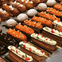Yesterday's course result. The First foray into eclair's territory  by @svetlanapopova70 все от начала до конца приготовлено Светланой:  эклеры пари Брест шу глазури 8 начинок. 4 раза сделали разное тесто; неплохо для первого раза?))) #foodporn  #foodies  #pâtisserie  #pastrylife  #pastryart  #valrhona  #eclair  #entremet  #pastry  #praline  #pastryart  #pâtisserie  #pastrylife  #glaçage  #glaze  #bakery  #boulangerie  #croissant  #macaron  #pastrycourse #кондитерскиекурсы  #хайфа #סדנאות…