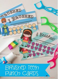 Need some incentive to help the kids with brushing teeth? Visit She's Kinda Crafty where you can print a set of punch cards! Links to print are found at the bottom of her post.