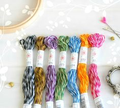 "Embroidery Floss ""Mingles Pallete"" - 7 Skeins Pack - Embroidery Thread by Sublime - Sublime Stitching - Cotton Embroidery Floss - Floss Dmc Embroidery Floss, Embroidery Bracelets, Hand Embroidery, Metallic Thread, Silk Thread, Cotton Thread, Cross Stitch Supplies, Bracelet Crafts, Lilac"