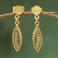 Gold vermeil filigree dangle earrings, 'Leaf Promise' by NOVICA