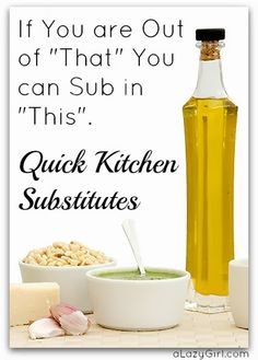 "If You are Out of ""That"" You can Sub in ""This"": Quick Kitchen Substitutes"