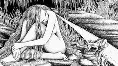 The sprite is the source of the river, while she sleeps the river flows