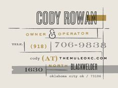 The Mule • Business Card  by Scott Hill