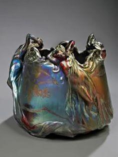Delphin Massier - artwork prices, pictures and values. Art market estimated value about Delphin Massier works of art. Glazes For Pottery, Pottery Art, Antique Pottery, Weller Pottery, Sculptures Céramiques, Organic Art, Vases, Delphine, Art Nouveau Design