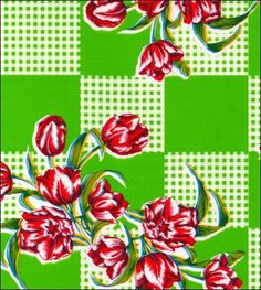 Oilcloth By The Yard - Tulips Lime Oilcloth