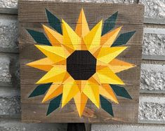 "Wood wall art - ""Edge of the Day 36 x 12 wooden wall art textured wood art home decor wall hanging by stainsandgrains modern sunrise Sunflower Quilts, Sunflower Art, Sunflower Pattern, Barn Quilt Designs, Barn Quilt Patterns, Quilting Designs, Painted Barn Quilts, Painted Wood, Hand Painted"