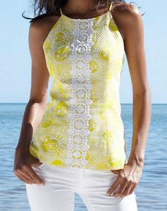 Lilly Pulitzer Annabelle Halter Top. I love the yellow with white lace
