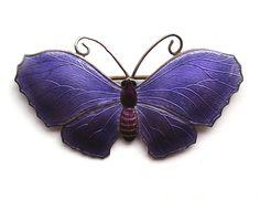 Silver and Purple Enamel Butterfly Brooch, Ja&s John Atkins & Son