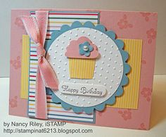 "Stamps: Create a Cupcake  Paper: Just Add Cake DP, Blushing Bride, Baja Breeze, and Whisper White CS  Ink: Early Espresso, Versamark  Embellishments: Blushing Bride 1/2"" Stitched-Poly Ribbon, Basic Pearl Jewel  Tools: Cupcake Builder, Word Window Punch, Triple Flower Punch, Perfect Polka Dots Textured Impressions Embossing Folder, Circle Cutter, Scallop Circle #2 Bigz Die  Supplies: Stampin' Dimensionals"