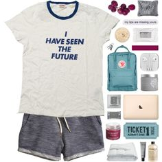 A fashion look from October 2015 featuring graphic design t shirts, dark blue shorts and blue bag. Browse and shop related looks.