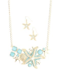 This Goldtone & Turquoise Starfish Cluster Necklace & Drop Earrings is perfect! #zulilyfinds