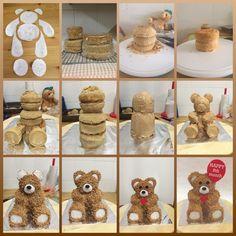 I enjoyed making this cake and missed taking photos of some of the steps. Cake Decorating Techniques, Cake Decorating Tutorials, 3d Cakes, Cupcake Cakes, Blue Velvet Cakes, Bithday Cake, Teddy Bear Cakes, Cake Tutorial, Photo Tutorial