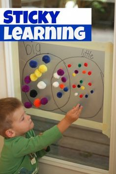 Use a few simple materials to have some sticky learning time!  Adding the element of a vertical surface can completely transform skills such as patterning and sorting!