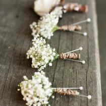 rustic wedding ideas – baby's breath boutonniere or corsage