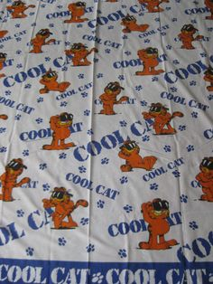Vintage Garfield COOL CAT Twin Flat Sheet by VintageByThePound on Etsy