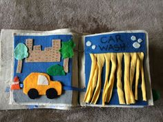 No Sew Quiet Book Car wash page