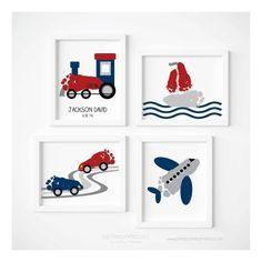Transportation Travel Nursery Art Print Set von PitterPatterPrint