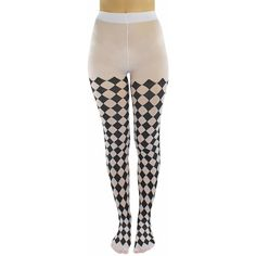 Black & White Jester Diamond Harlequin Tights ($18) ❤ liked on Polyvore featuring intimates, hosiery, tights, leg wear, leotard leggings, patterned stockings, harlequin tights, black white tights, black and white stockings and print tights