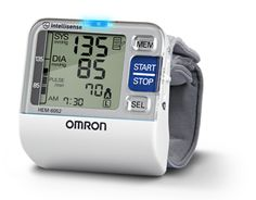 Omron's BP652:  * Irregular Heartbeat Detection * Heart Guide Technology:  Light flashes orange and blue to guide your wrist to your heart level, making it easier to find the correct position. * 2 User Mode: Two different users can monitor their readings separately (100 each with time stamp) in the stored memory. * BP Level Indicator * Advanced Averaging: Displays the average of up to the last 3 readings taken within the last 10 minutes. Includes: unit, case, 2 AAA batteries, instruction…