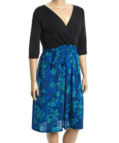c513e1a0448 Look what I found on  zulily! Black  amp  Aqua Floral Surplice Dress -
